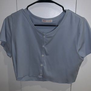 blue cropped button up
